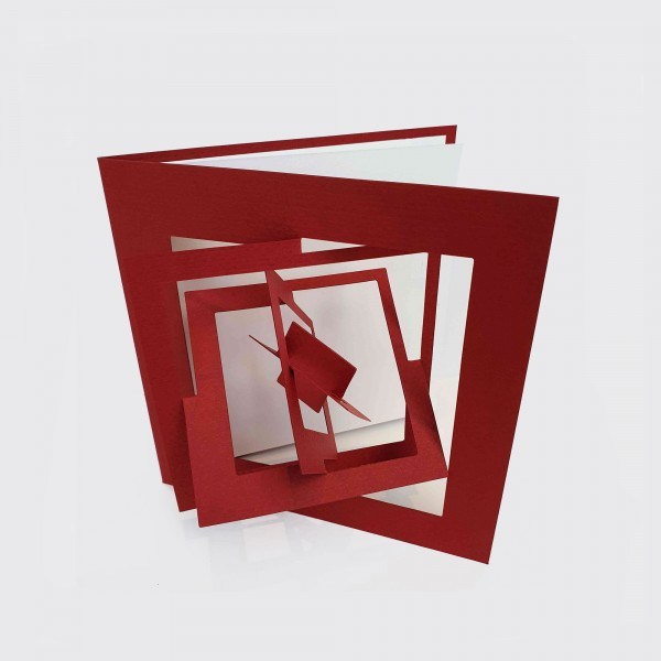 Pop-out card . SQUARE . BAUHAUS . red
