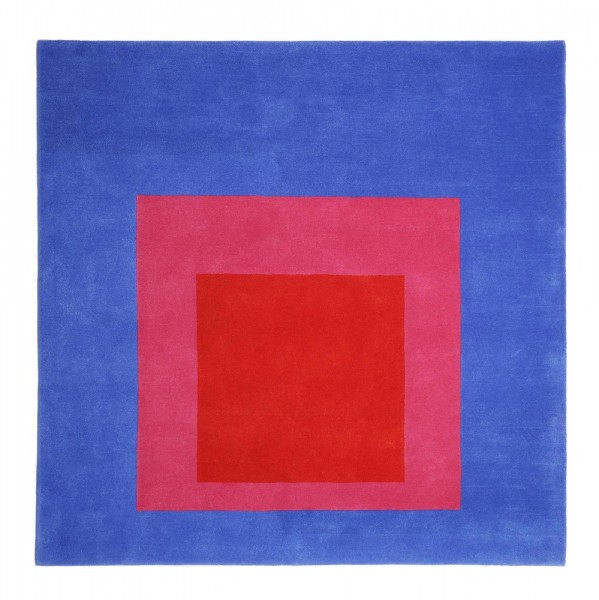 rug . JOSEF ALBERS . SQUARE . blue/red