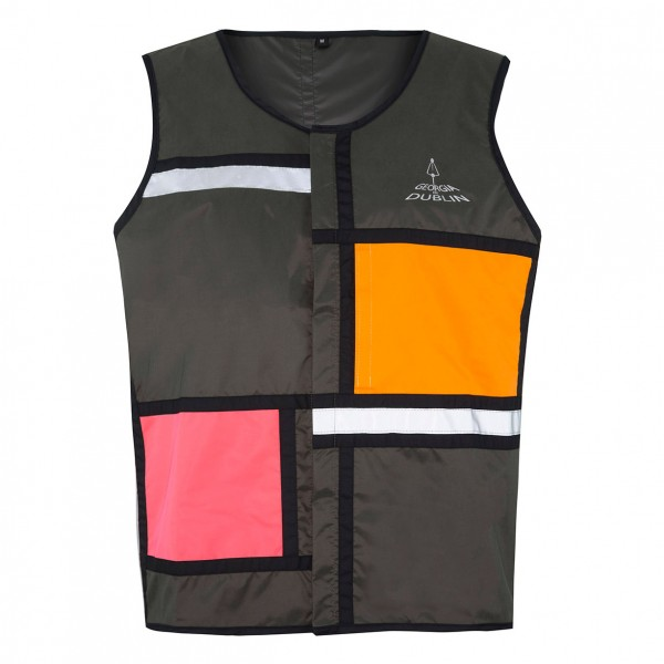 rain and visibility vest . GEORGIA IN DUBLIN . L . green, orange, pink