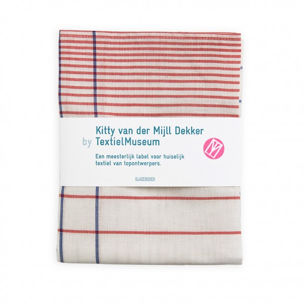 Glass towel . VAN DER MIJL DEKKER . white/blue/red
