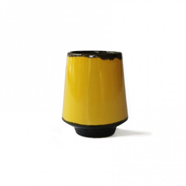 cup . THEODOR BOGLER . colored glazed . yellow